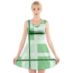 Abstract Green Squares Background V-Neck Sleeveless Skater Dress
