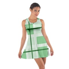 Abstract Green Squares Background Cotton Racerback Dress