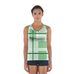 Abstract Green Squares Background Women s Sport Tank Top