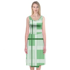 Abstract Green Squares Background Midi Sleeveless Dress
