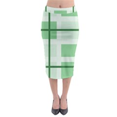 Abstract Green Squares Background Midi Pencil Skirt