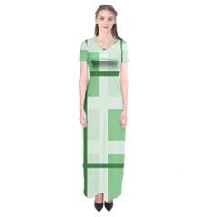 Abstract Green Squares Background Short Sleeve Maxi Dress