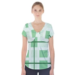 Abstract Green Squares Background Short Sleeve Front Detail Top