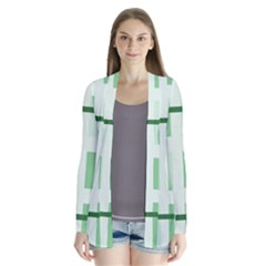 Abstract Green Squares Background Cardigans