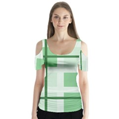 Abstract Green Squares Background Butterfly Sleeve Cutout Tee