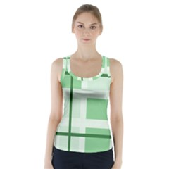 Abstract Green Squares Background Racer Back Sports Top