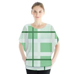 Abstract Green Squares Background Blouse