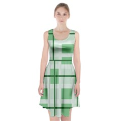 Abstract Green Squares Background Racerback Midi Dress