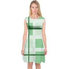 Abstract Green Squares Background Capsleeve Midi Dress