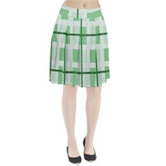 Abstract Green Squares Background Pleated Skirt