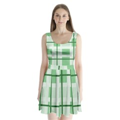 Abstract Green Squares Background Split Back Mini Dress