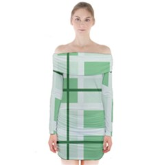Abstract Green Squares Background Long Sleeve Off Shoulder Dress