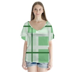 Abstract Green Squares Background Flutter Sleeve Top