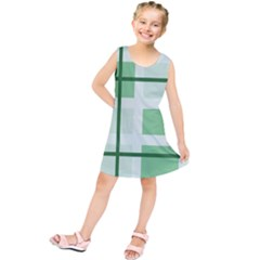 Abstract Green Squares Background Kids  Tunic Dress