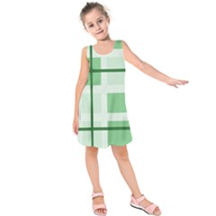 Abstract Green Squares Background Kids  Sleeveless Dress