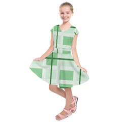 Abstract Green Squares Background Kids  Short Sleeve Dress