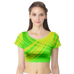 Abstract Green Yellow Background Short Sleeve Crop Top (tight Fit)