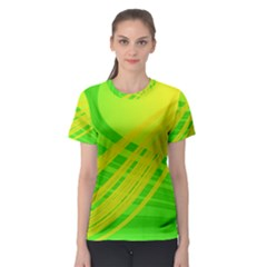 Abstract Green Yellow Background Women s Sport Mesh Tee