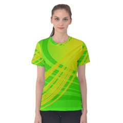 Abstract Green Yellow Background Women s Cotton Tee