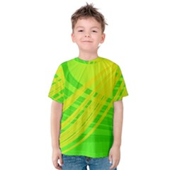 Abstract Green Yellow Background Kids  Cotton Tee