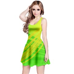 Abstract Green Yellow Background Reversible Sleeveless Dress
