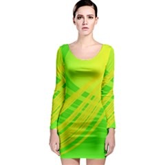 Abstract Green Yellow Background Long Sleeve Bodycon Dress