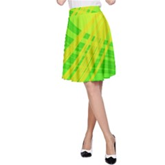 Abstract Green Yellow Background A Line Skirt