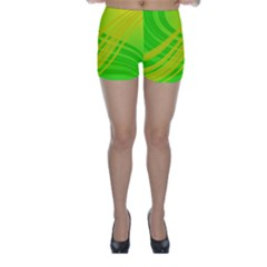 Abstract Green Yellow Background Skinny Shorts