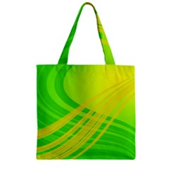 Abstract Green Yellow Background Zipper Grocery Tote Bag