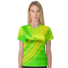 Abstract Green Yellow Background Women s V-Neck Sport Mesh Tee