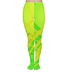 Abstract Green Yellow Background Women s Tights