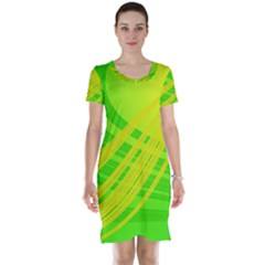 Abstract Green Yellow Background Short Sleeve Nightdress