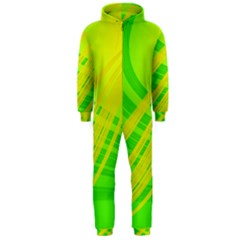 Abstract Green Yellow Background Hooded Jumpsuit (men)
