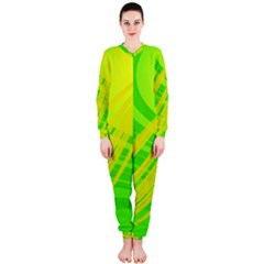 Abstract Green Yellow Background Onepiece Jumpsuit (ladies)