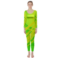 Abstract Green Yellow Background Long Sleeve Catsuit