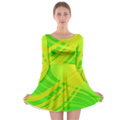 Abstract Green Yellow Background Long Sleeve Skater Dress
