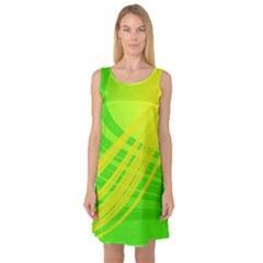 Abstract Green Yellow Background Sleeveless Satin Nightdress