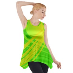 Abstract Green Yellow Background Side Drop Tank Tunic