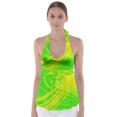 Abstract Green Yellow Background Babydoll Tankini Top