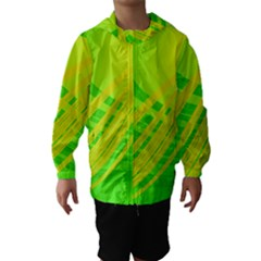 Abstract Green Yellow Background Hooded Wind Breaker (kids)