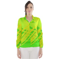 Abstract Green Yellow Background Wind Breaker (women)
