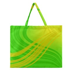Abstract Green Yellow Background Zipper Large Tote Bag