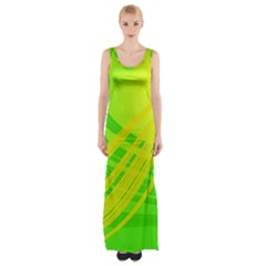 Abstract Green Yellow Background Maxi Thigh Split Dress