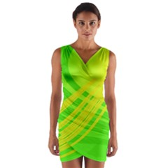 Abstract Green Yellow Background Wrap Front Bodycon Dress