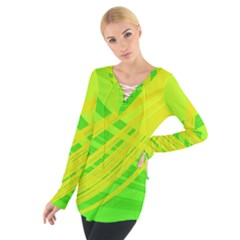 Abstract Green Yellow Background Women s Tie Up Tee