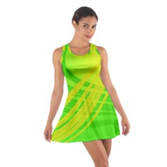 Abstract Green Yellow Background Cotton Racerback Dress