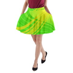 Abstract Green Yellow Background A Line Pocket Skirt