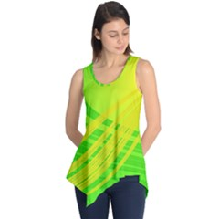 Abstract Green Yellow Background Sleeveless Tunic