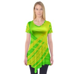 Abstract Green Yellow Background Short Sleeve Tunic