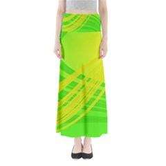 Abstract Green Yellow Background Maxi Skirts